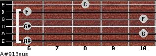 A#9/13sus for guitar on frets 6, 10, 6, 10, 6, 8