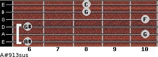 A#9/13sus for guitar on frets 6, 10, 6, 10, 8, 8