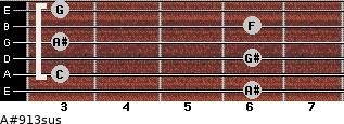 A#9/13sus for guitar on frets 6, 3, 6, 3, 6, 3