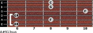 A#9/13sus for guitar on frets 6, 8, 6, 10, 8, 8