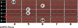 A#9/13sus for guitar on frets 6, x, 5, 5, 6, 4