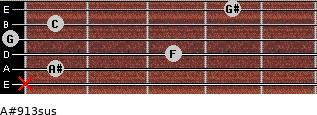 A#9/13sus for guitar on frets x, 1, 3, 0, 1, 4