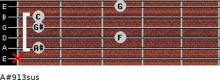 A#9/13sus for guitar on frets x, 1, 3, 1, 1, 3