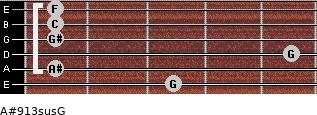 A#9/13sus/G for guitar on frets 3, 1, 5, 1, 1, 1