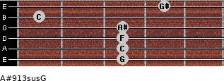 A#9/13sus/G for guitar on frets 3, 3, 3, 3, 1, 4