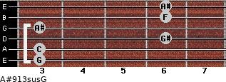 A#9/13sus/G for guitar on frets 3, 3, 6, 3, 6, 6
