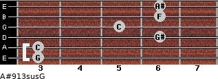 A#9/13sus/G for guitar on frets 3, 3, 6, 5, 6, 6