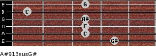 A#9/13sus/G# for guitar on frets 4, 3, 3, 3, 1, 3