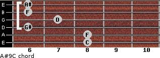 A#9/C for guitar on frets 8, 8, 6, 7, 6, 6