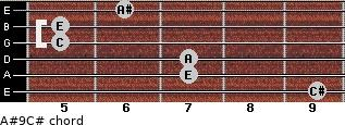 A#º9\C# for guitar on frets 9, 7, 7, 5, 5, 6