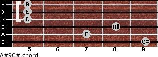 A#º9\C# for guitar on frets 9, 7, 8, 5, 5, 5