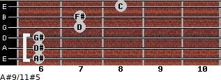 A#9/11#5 for guitar on frets 6, 6, 6, 7, 7, 8