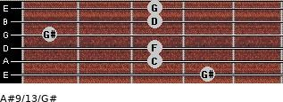 A#9/13/G# for guitar on frets 4, 3, 3, 1, 3, 3