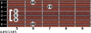 A#9/13#5 for guitar on frets 6, 5, 5, 5, 7, 6