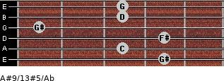 A#9/13#5/Ab for guitar on frets 4, 3, 4, 1, 3, 3
