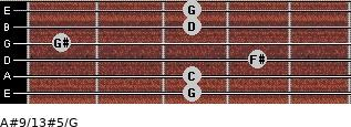 A#9/13#5/G for guitar on frets 3, 3, 4, 1, 3, 3
