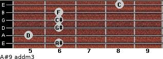 A#9 add(m3) for guitar on frets 6, 5, 6, 6, 6, 8