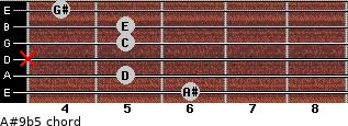A#9b5 for guitar on frets 6, 5, x, 5, 5, 4