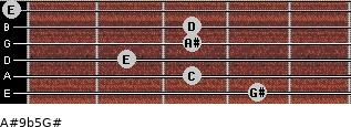 A#9b5/G# for guitar on frets 4, 3, 2, 3, 3, 0