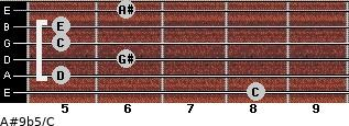 A#9b5/C for guitar on frets 8, 5, 6, 5, 5, 6
