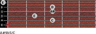 A#9b5/C for guitar on frets x, 3, 2, 3, 3, 0