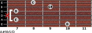 A#9b5/D for guitar on frets 10, 7, x, 7, 9, 8