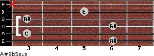A#9b5sus for guitar on frets 6, 3, 6, 3, 5, x