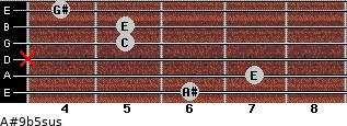 A#9b5sus for guitar on frets 6, 7, x, 5, 5, 4