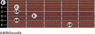 A#9b5sus/Ab for guitar on frets 4, 1, 2, 1, 1, 0