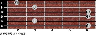 A#9#5 add(m3) for guitar on frets 6, 3, 6, 6, 3, 2