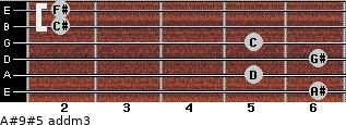 A#9#5 add(m3) for guitar on frets 6, 5, 6, 5, 2, 2