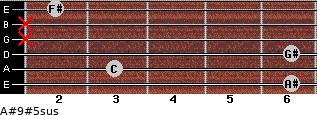 A#9#5sus for guitar on frets 6, 3, 6, x, x, 2
