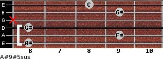 A#9#5sus for guitar on frets 6, 9, 6, x, 9, 8