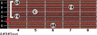 A#9#5sus for guitar on frets 6, x, 4, 5, 7, 4