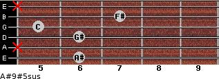 A#9#5sus for guitar on frets 6, x, 6, 5, 7, x