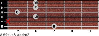 A#9sus/B add(m2) guitar chord