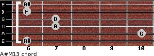 A#M13 for guitar on frets 6, 10, 7, 7, 6, 6