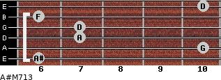 A#M7/13 for guitar on frets 6, 10, 7, 7, 6, 10