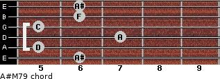 A#M7/9 for guitar on frets 6, 5, 7, 5, 6, 6