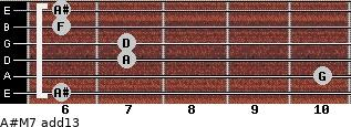 A#M7(add13) for guitar on frets 6, 10, 7, 7, 6, 6
