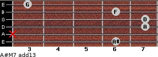 A#M7(add13) for guitar on frets 6, x, 7, 7, 6, 3