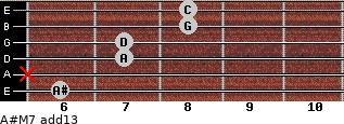 A#M7(add13) for guitar on frets 6, x, 7, 7, 8, 8