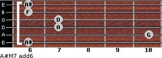 A#M7(add6) for guitar on frets 6, 10, 7, 7, 6, 6