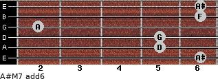A#M7(add6) for guitar on frets 6, 5, 5, 2, 6, 6