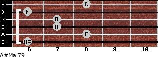 A#Maj7/9 for guitar on frets 6, 8, 7, 7, 6, 8
