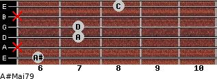 A#Maj7/9 for guitar on frets 6, x, 7, 7, x, 8