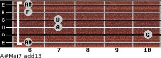 A#Maj7(add13) for guitar on frets 6, 10, 7, 7, 6, 6
