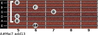 A#Maj7(add13) for guitar on frets 6, 5, 5, 7, 6, 5