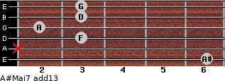 A#Maj7(add13) for guitar on frets 6, x, 3, 2, 3, 3