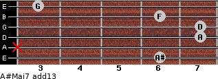 A#Maj7(add13) for guitar on frets 6, x, 7, 7, 6, 3